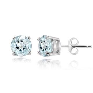 Glitzy Rocks 14k White Gold 1ct TGW Aquamarine 5mm Stud Earrings