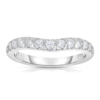 Eloquence 14k White Gold 1/2ct TDW Curved Diamond Wedding Band (H-I, I1-I2)