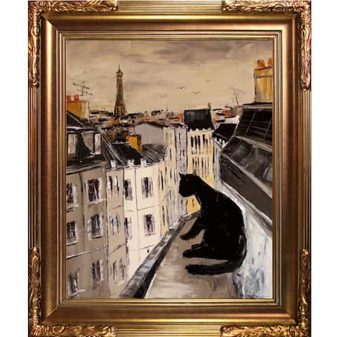 Atelier De Jiel Black Cat on Roofs of Paris Framed Fine Art Print