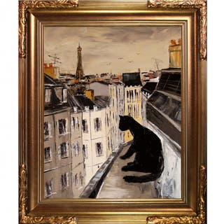 Atelier De Jiel Black Cat on Roofs of Paris Framed Fine Art Print