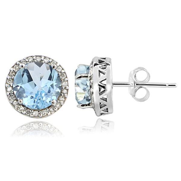 Glitzy Rocks Sterling Silver 2 1/10ct TGW Blue Topaz and 1/5ct TDW Diamond Stud Earrings (G-H, I2-I3)