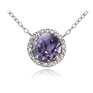 Glitzy Rocks Sterling Silver 1 4/5ct TGW Amethyst and 1/10ct TDW Diamond Solitaire Necklace (G-H, I2-I3)