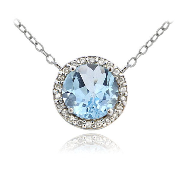 Glitzy Rocks Sterling Silver 2 1/2ct TGW Blue Topaz and 1/10ct TDW Diamond Solitaire Necklace (G-H, I2-I3)