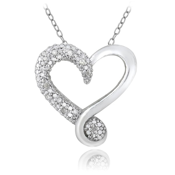 DB Designs Sterling Silver 1/8ct TDW Diamond Heart Necklace