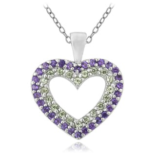 Glitzy Rocks Sterling Silver Amethyst And Peridot Heart Necklace