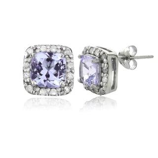 Glitzy Rocks Sterling Silver 1 3/5ct TGW Amethyst and 1/8ct TDW Diamond Stud Earrings (G-H, I2-I3)