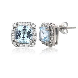 Glitzy Rocks Sterling Silver 2 3/5ct TGW Blue Topaz And 1/8ct TDW Diamond Stud Earrings (G-H, I2-I3)