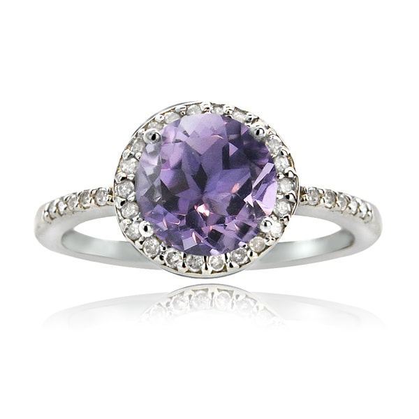 Glitzy Rocks Sterling Silver 1 4/5ct TGW Amethyst and 1/6ct TDW Diamond Solitaire Ring