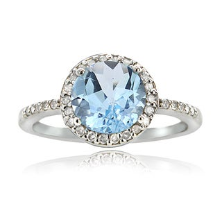 Glitzy Rocks Sterling Silver 2 1/2ct TGW Blue Topaz And 1/6ct TDW Diamond Solitaire Ring