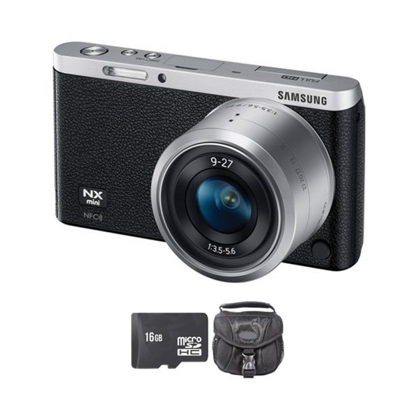 Samsung NX Mini Mirrorless Black Digital Camera with 9-27mm Lens 16GB Bundle
