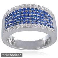 Glitzy Rocks Sterling Silver Created Gemstone Ring