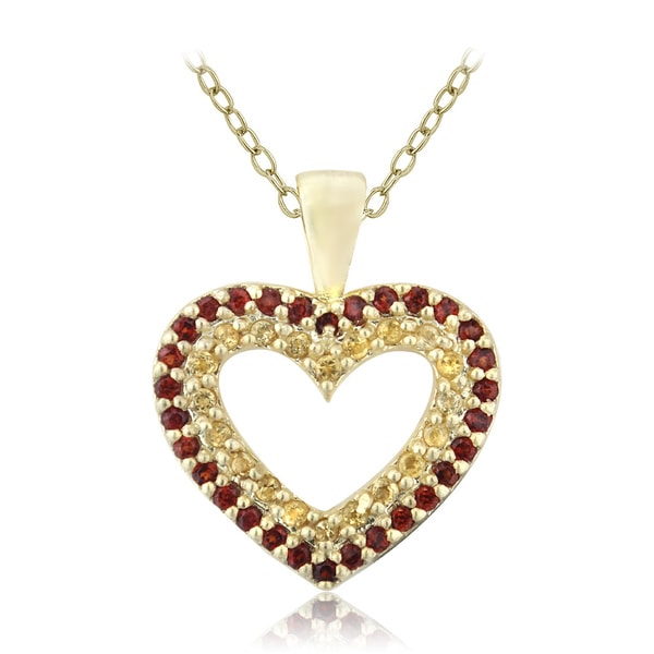 Glitzy Rocks Gold Over Silver Citrine And Garnet Heart Necklace
