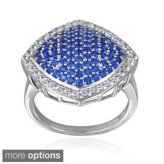 Glitzy Rocks Sterling Silver Created Sapphire, Ruby or Emerald Gemstone Ring