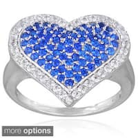 Glitzy Rocks Sterling Silver Created Gemstone Heart Ring