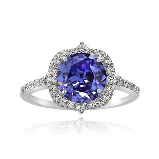 Icz Stonez Silver 4ct TGW Blue Cubic Zirconia Ring