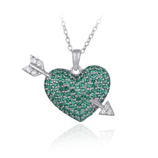 Link to Glitzy Rocks Sterling Silver Created Gemstone Heart and Arrow Necklace Similar Items in Birthstone Jewelry