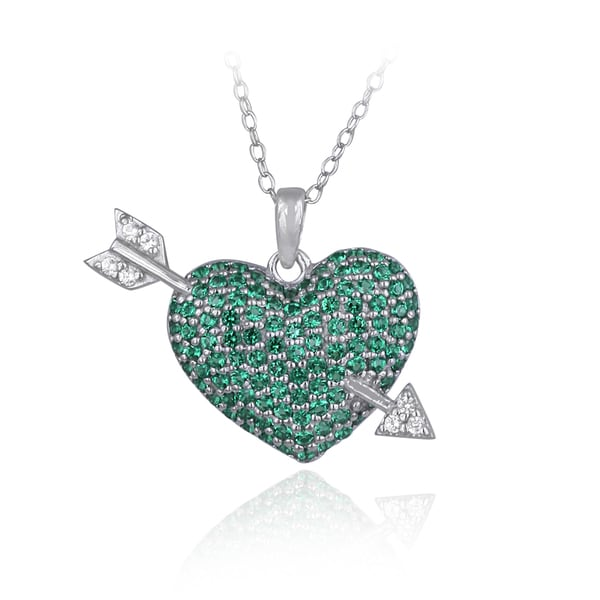 Glitzy Rocks Sterling Silver Created Gemstone Heart and Arrow Necklace. Opens flyout.