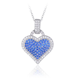 Glitzy Rocks Sterling Silver Created Gemstone Heart Necklace