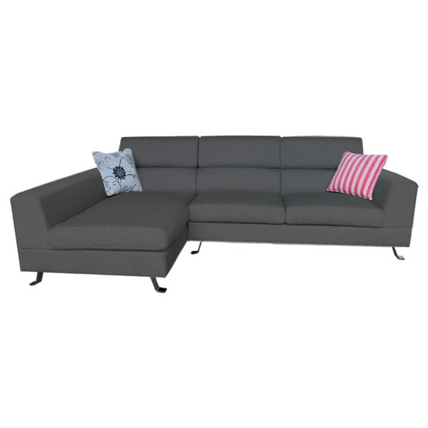 The Hom Kileen Dark Grey Left Facing Chaise Linen Sectional Sofa Free Shipping Today