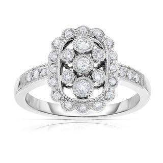 Eloquence 14k White Gold 1/3ct TDW Bezel-set Diamond Ring