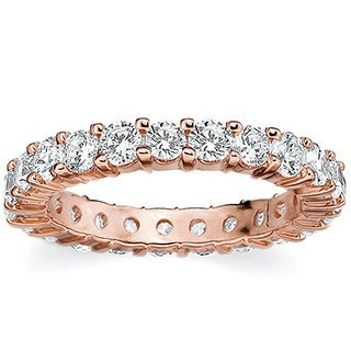 Amore 14k or 18k Rose Gold 2ct TDW Shared Prong Diamond Wedding Band (G-H, SI1-SI2)