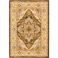 Dark Brown Medallion Corners Rug