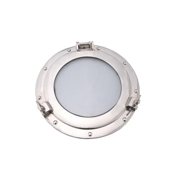 Glass Inserted Aluminum Porthole Wall Decor With Hinge Joint, Gray - Grey