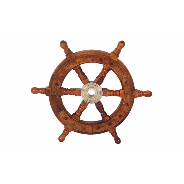 "12"" Teak Wood Ship Wheel with Brass Inset and Six Spokes, Brown and Gold. Opens flyout."