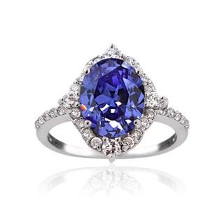 Icz Stonez Silver 3 3/4ct TGW Blue Cubic Zirconia Ring