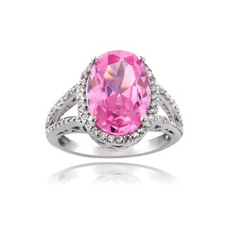 Icz Stonez Silver 9 4/5ct TGW Pink Cubic Zirconia Ring