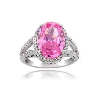 Icz Stonez Silver 9 4/5ct TGW Pink Cubic Zirconia Ring