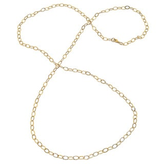 Sterling Essentials Yellow Goldplated Silver Hammered Oval Link Necklace