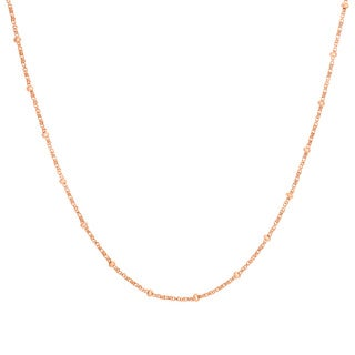Sterling Essentials Rose Goldplated Silver Box and Bead Chain (2 mm)