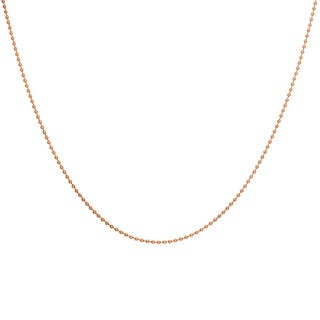 Sterling Essentials Rose Goldplated Silver Bead Chain Necklace (1 mm)