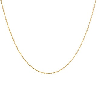 Sterling Essentials Yellow Goldplated Silver Bead Chain Necklace (1 mm)