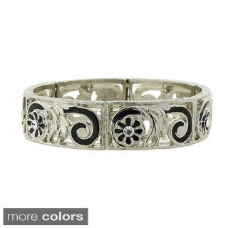 Silver-tone Enamel Filigree Stretch Bracelet