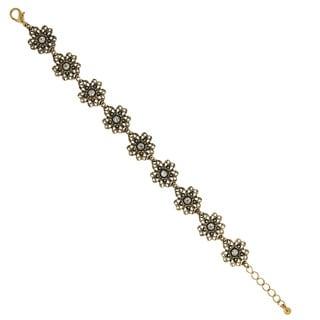 1928 Lovely Gold-Tone Crystal Flower Link Bracelet
