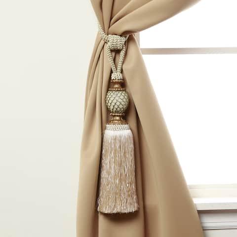 "Aurora Home Bella Tassel Curtain Tie Back Pair - 8"""