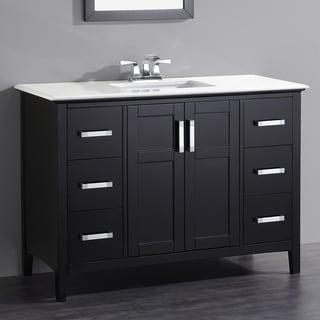 WYNDENHALL Salem Black 2 door 48 inch Bath Vanity Set with White Quartz Marble Top. WYNDENHALL Windham Black 2 door 48 inch Bath Vanity Set with