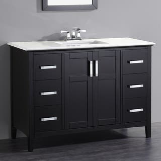 WYNDENHALL Salem Black 2-door 48-inch Bath Vanity Set with White Quartz Marble Top|https://ak1.ostkcdn.com/images/products/9618651/P16803773.jpg?impolicy=medium