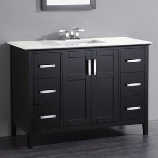 WYNDENHALL Salem Black 2-door 48-inch Bath Vanity Set with White Quartz Marble Top
