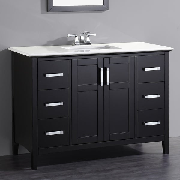 WYNDENHALL Salem 48 inch Contemporary Bath Vanity in Black with Bombay White Engineered Quartz Marble Top