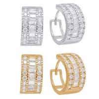 Sterling Silver Cubic Zirconia Fancy Endless Hoop Earrings