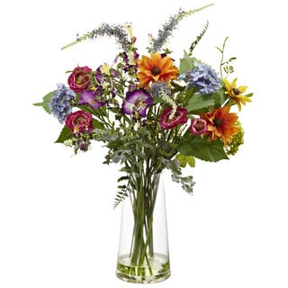 Nearly Natural 24-inch Spring Garden Flowers/ Vase