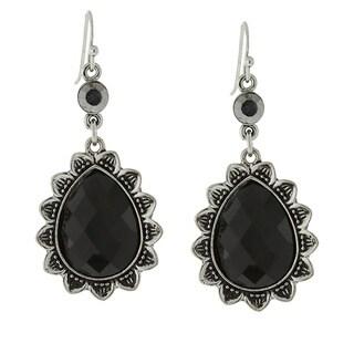 1928 Black Faceted Teardrop Earrings