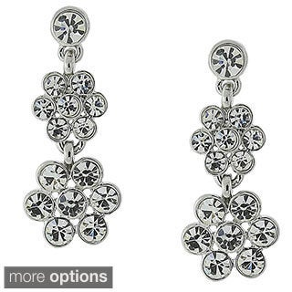 1928 Jewelry Crystal Flower Drop Earrings