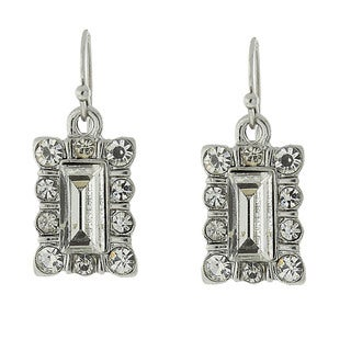 1928 Jewelry Crystal Square Drop Earrings
