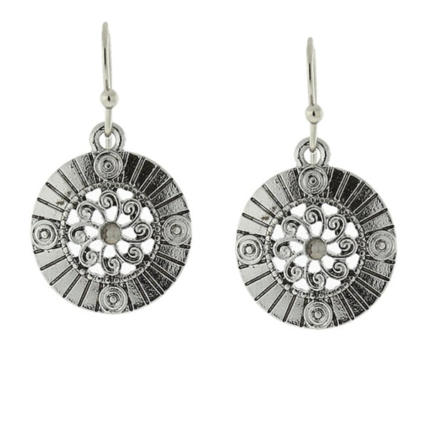 1928 Silver-Tone Hematite-color Round Drop Earrings