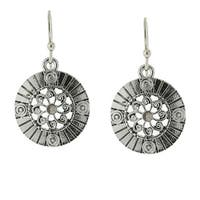 1928 Jewelry Silver Tone Hematite-color Round Drop Earrings