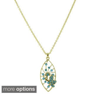 1928 Jewelry Filigree Leaf and Butterfly Pendant Necklace